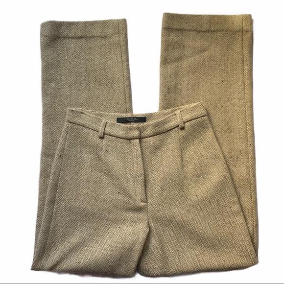 MaxMara Weekend Tan Virgin Wool Trousers Size 4